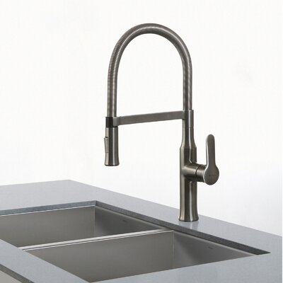 Nola Single Handle Kitchen Faucet with Dual-Function Sprayer Finish: Stainless Steel