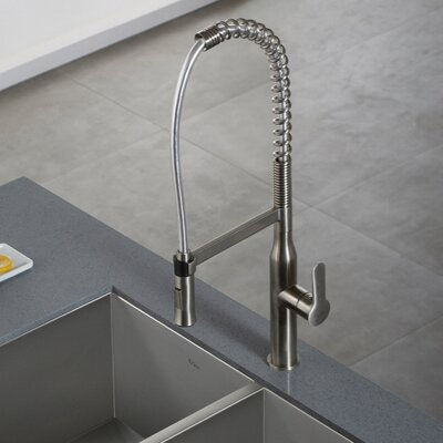 Nola Single Handle Kitchen Faucet with Dual Function Sprayer Finish: Stainless Steel