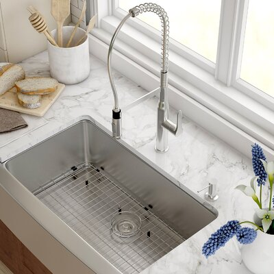 Stainless Steel 33 x 20.75 Farmhouse Kitchen Sink with NoiseDefend Soundproofing