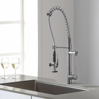 Single Handle Pull Down Deck Mounted Kitchen Faucet Finish: Chrome
