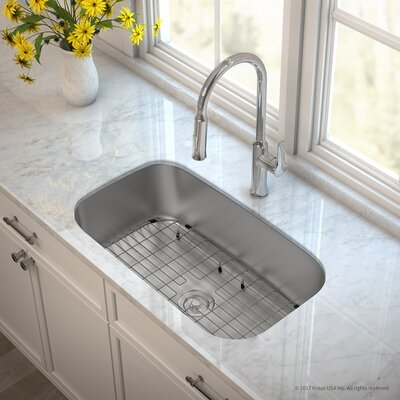 Outlast MicroShield� Stainless Steel Real 16 Gauge 31.5 x 18.38 Undermount Kitchen Sink with Faucet Faucet Finish: Chrome