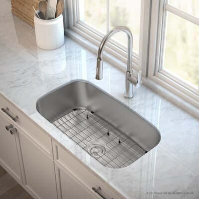 Outlast MicroShield� Stainless Steel Real 16 Gauge 31.5 x 18.38 Undermount Kitchen Sink with Faucet Faucet Finish: Stainless Steel