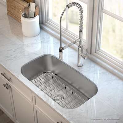 Outlast MicroShield� Stainless Steel Real 16 Gauge 31.5 x 18.38 Undermount Kitchen Sink with Faucet Finish: Chrome