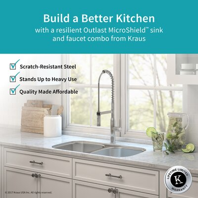 Outlast MicroShield� Stainless Steel Real 16 Gauge 32.25 x 18 Double Basin Undermount Kitchen Sink with Faucet Finish: Stainless Steel