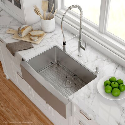 Handmade 16 Gauge Stainless Steel 29.75 x 20.75 Apron-Front Farmhouse Kitchen Sink with Faucet  Finish: Chrome