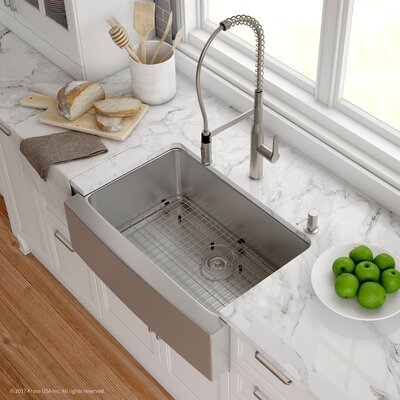 Handmade 16 Gauge Stainless Steel 29.75 x 20.75 Apron-Front Farmhouse Kitchen Sink with Faucet  Finish: Stainless Steel