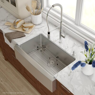 Handmade 16 Gauge Stainless Steel Kitchen Farmhouse 32.88 x 20.75 Undermount Kitchen Sink with Faucet Finish: Chrome