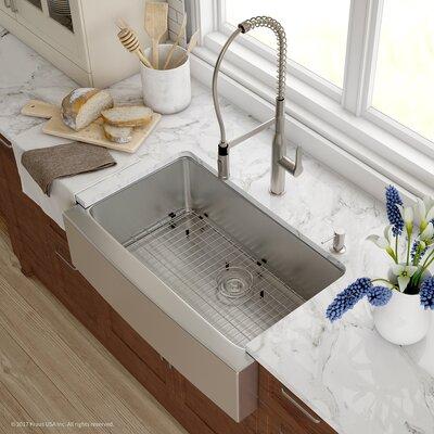 Handmade 16 Gauge Stainless Steel Kitchen Farmhouse 32.88 x 20.75 Undermount Kitchen Sink with Faucet Finish: Stainless Steel