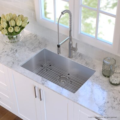 Handmade Stainless Steel 16 Gauge 30 x 18 Undermount Kitchen Sink with Faucet Finish: Stainless Steel