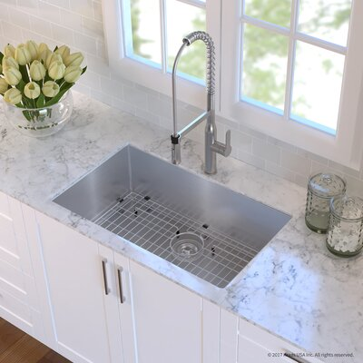 Handmade Stainless Steel 16 Gauge 32 x 19 Undermount Kitchen Sink with Faucet Finish: Stainless Steel
