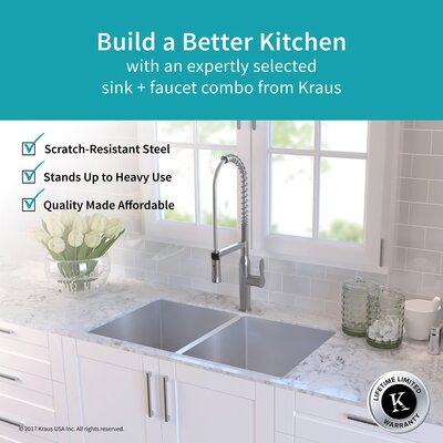 Handmade 16 Gauge Stainless Steel 32.75 x 19 Undermount Kitchen Sink and Faucet Finish: Chrome