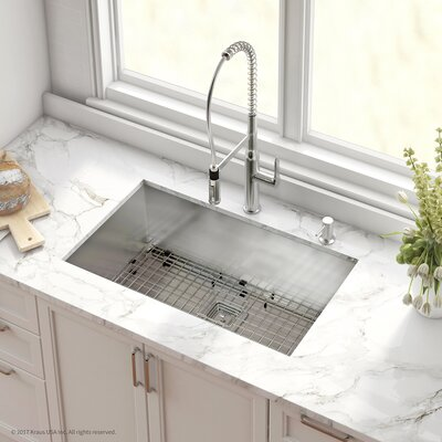 Pax� Stainless Steel 16 Gauge 31.5 x 18.5 Undermount Kitchen Sink with Faucet Finish: Chrome