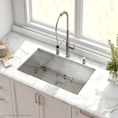 Pax� Stainless Steel 16 Gauge 31.5 x 18.5 Undermount Kitchen Sink with Faucet Finish: Stainless Steel