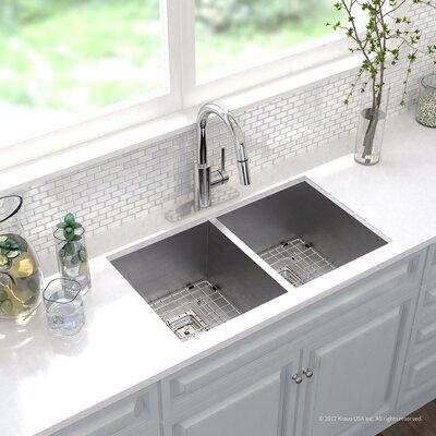 Pax� Zero-Radius 16 Gauge Stainless Steel 31.5 x 18.5 Double Basin Undermount Kitchen Sink with Faucet Finish: Chrome