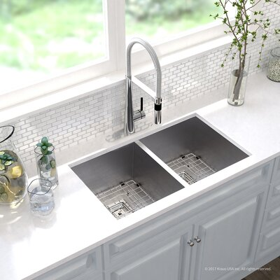 Pax� Zero-Radius 16 Gauge Stainless Steel 31.5 x 18.5 Double Basin Undermount Kitchen Sink with Faucet Finish: Chrome