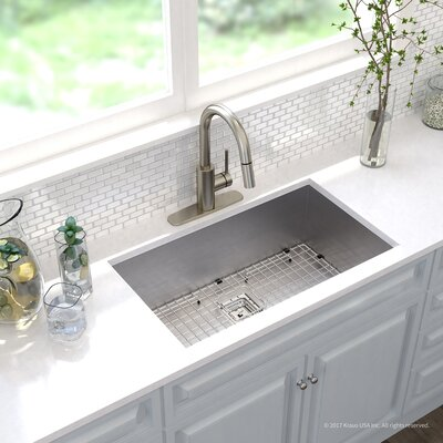 Pax� Zero-Radius 16 Gauge Stainless Steel 31.5 x 18.5 Undermount Kitchen Sink with Faucet Finish: Stainless Steel
