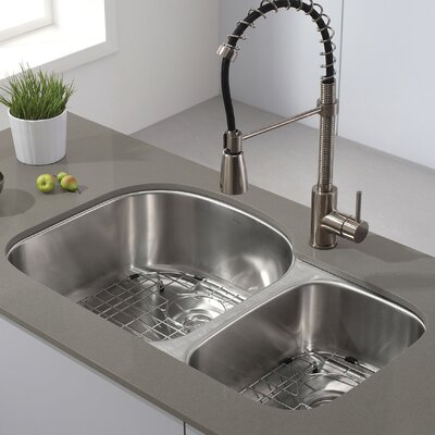 32.38 x 20.5 Double Basin Undermount Kitchen Sink with NoiseDefend� Soundproofing