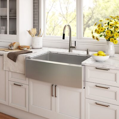 Stainless Steel 29.75 x 20 Farmhouse Kitchen Sink with NoiseDefend� Soundproofing