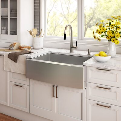 33 x 21 Farmhouse Kitchen Sink with Drain Assembly