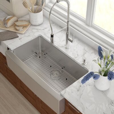 Stainless Steel 35.88 x 20.75 Farmhouse Kitchen Sink with NoiseDefend� Soundproofing Rectangular  Bathroom Sink
