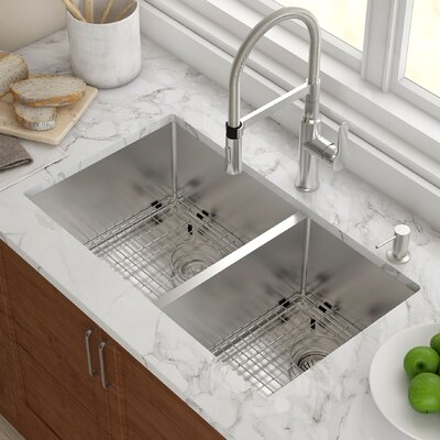 Stainless Steel 32.75 x 19 Double Bowl Undermount Kitchen Sink with NoiseDefend� Soundproofing