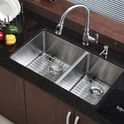 33 x 19 Double Basin Undermount Kitchen Sink with Drain Assembly