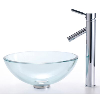 Clear Glass Glass Circular Vessel Bathroom Sink with Faucet Sink Finish: Clear, Faucet Finish: Chrome