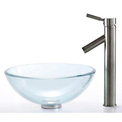 Circular Vessel Bathroom Sink Faucet Finish: Satin Nickel, Sink Finish: Clear