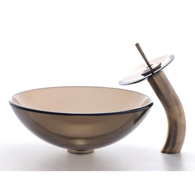 Circular Vessel Bathroom Sink Sink Finish: Clear Brown, Faucet Finish: Oil Rubbed Bronze