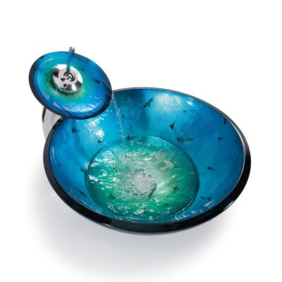 Irruption Glass Circular Vessel Bathroom Sink with Faucet Sink Finish: Blue, Faucet Finish: Chrome
