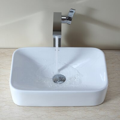 Ceramic Rectangular Vessel Bathroom Sink Drain Finish: Chrome
