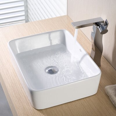 Knaack Ceramic Rectangular Vessel Bathroom Sink Drain Finish: Chrome