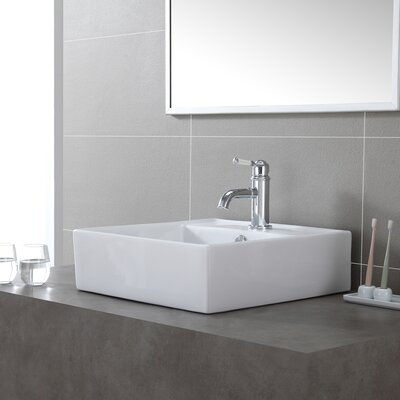 Ceramic Square Vessel Bathroom Sink with Overflow Drain Finish: Satin Nickel