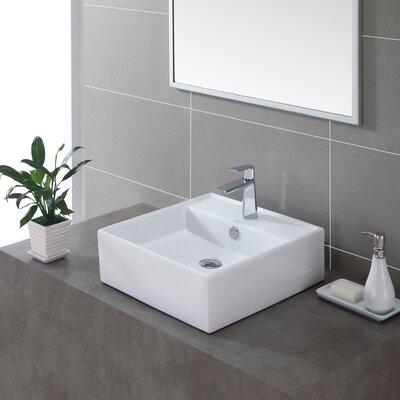 Ceramic Square Vessel Bathroom Sink with Overflow Drain Finish: Chrome
