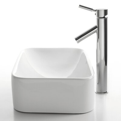 Ceramic Ceramic Rectangular Vessel Bathroom Sink with Faucet Faucet Finish: Chrome