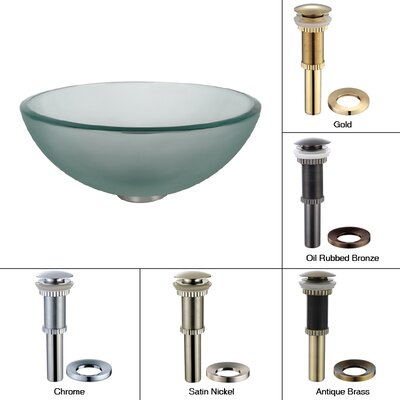 Frosted Circular Vessel Bathroom Sink Finish: Satin Nickel