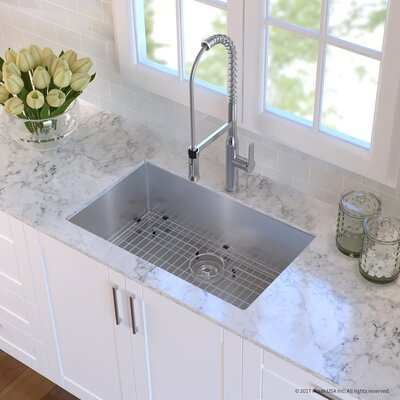 Handmade Stainless Steel 16 Gauge 30 x 18 Undermount Kitchen Sink with Faucet Finish: Chrome