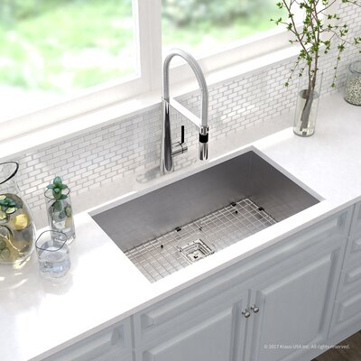 Pax� Zero-Radius 16 Gauge Stainless Steel 31.5 x 18.5 Undermount Kitchen Sink with Faucet Finish: Chrome