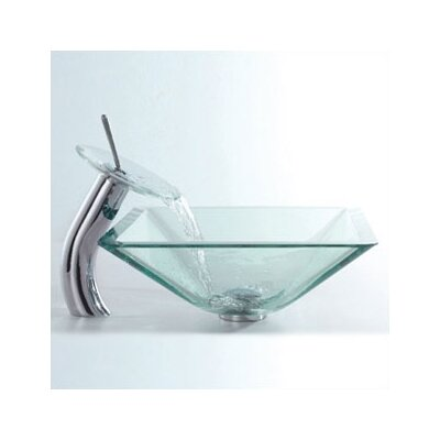 Waterfall Faucet Square Vessel Bathroom Sink Faucet Finish: Chrome