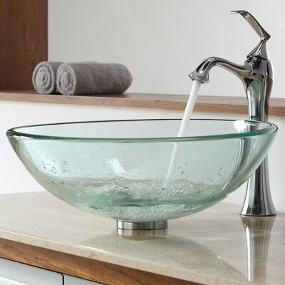 Glass Vessel Bathroom Sink with Single Handle Single Hole Faucet Sink Finish: Clear Black, Faucet Finish: Oil Rubbed Bronze