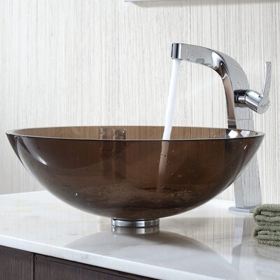 Bathroom Combos Circular Vessel Sink Bathroom Sink Sink Finish: Clear Brown