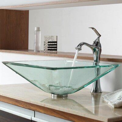 Aquamarine Glass Square Vessel Bathroom Sink