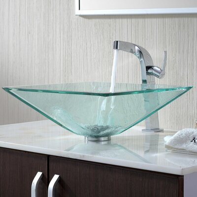 Aquamarine Glass Square Vessel Bathroom Sink