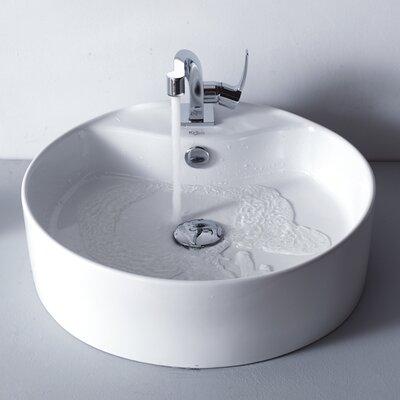 Ceramic Circuar Vessel Bathroom Sink with Overflow