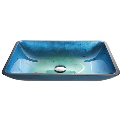 Galaxy Irruption Rectangular Vessel Bathroom Sink Color: Fire-Blue, Drain Finish: Satin Nickel
