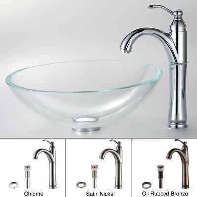 Crystal Glass Circular Vessel Bathroom Sink Faucet Finish: Chrome