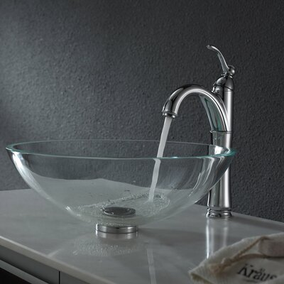 Crystal Glass Circular Vessel Bathroom Sink Drain Finish: Chrome
