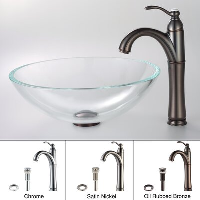 Crystal Glass Circular Vessel Bathroom Sink Faucet Finish: Oil Rubbed Bronze
