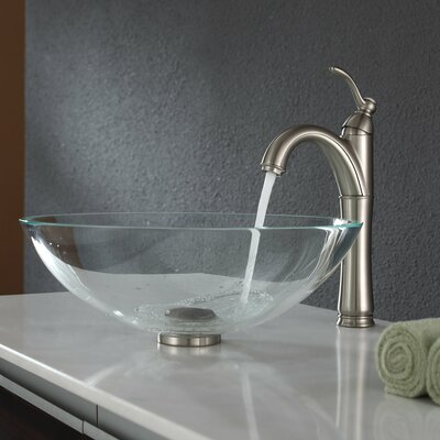 Crystal Glass Circular Vessel Bathroom Sink Drain Finish: Satin Nickel
