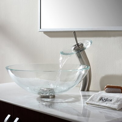 Crystal Glass Circular Vessel Bathroom Sink Faucet Finish: Satin Nickel